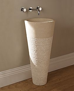 Cone natural stone bathroom basin on stand - Aston Matthews