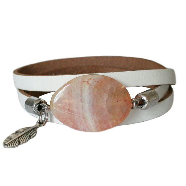 Lederen wikkelarmband Balansz LA86, roze / wit