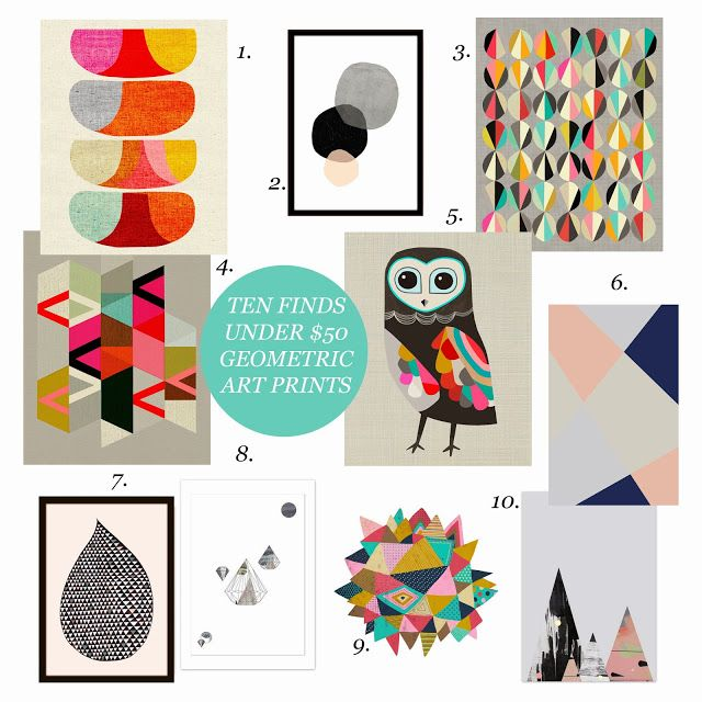 Beau Monde Mama: TEN FINDS UNDER $50 - GEOMETRIC ART PRINTS