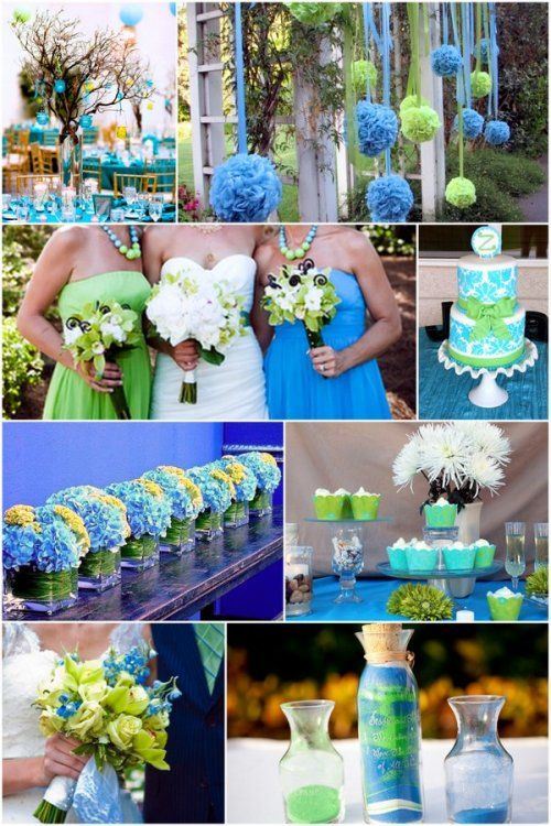 Baby blue and spring green wedding color theme  #Mint / pastel green Wedding Reception ... Wedding ideas for brides, grooms, parents & planners ... https://itunes.apple.com/us/app/the-gold-wedding-planner/id498112599?ls=1=8 … plus how to organise an entire wedding ♥ The Gold Wedding Planner iPhone App ♥