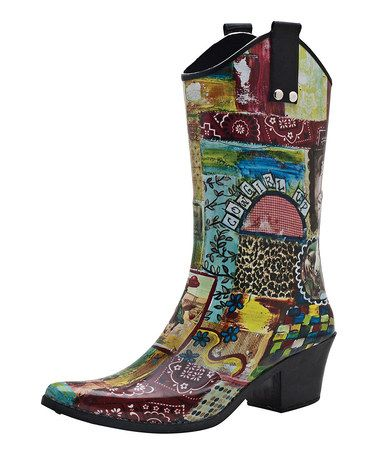 """""""COWGIRL UP"""" Rain Boots, LOVE IT!! Love this Red & Blue Giddyup Cowboy Rain Boot on #zulily! #zulilyfinds"""