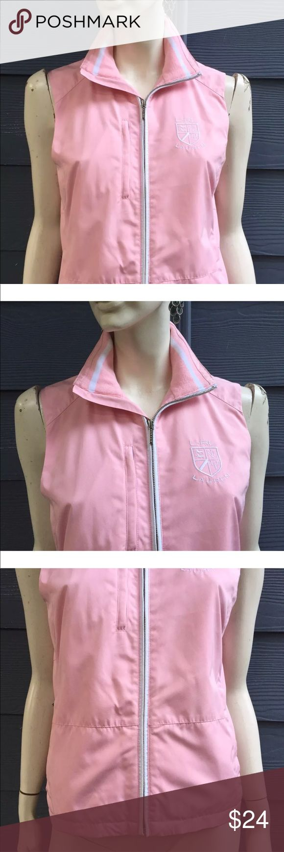 """Lauren Ralph Lauren Women's Vest Pink Zip Sz M Lauren Ralph Lauren Women's Vest Pink White Mesh Lined 3 Zipped Pockets Zip Size M  Measurements laying flat approximate: Bust 19 1/2"""", waist 19"""", hips 19 1/2"""", length 23"""".  THIS GORGEOUS VEST HAS BEEN GENTLY WORN AND OVERALL IN GREAT CONDITION! IT ONLY SHOWS REGULAR SIGNS OF WEAR.  NOTE:  PLEASE REVIEW MEASUREMENTS CAREFULLY BEFORE PURCHASING THIS ITEM SINCE SIZES SOME TIMES ARE DIFFERENT FROM BRAND TO BRAND. Lauren Ralph Lauren Jackets & Coats…"""