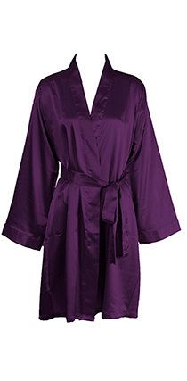Deep Purple Plum Personalized SATIN Robes Embroidered Monogrammed Bridesmaids Gift on Etsy, $29.99