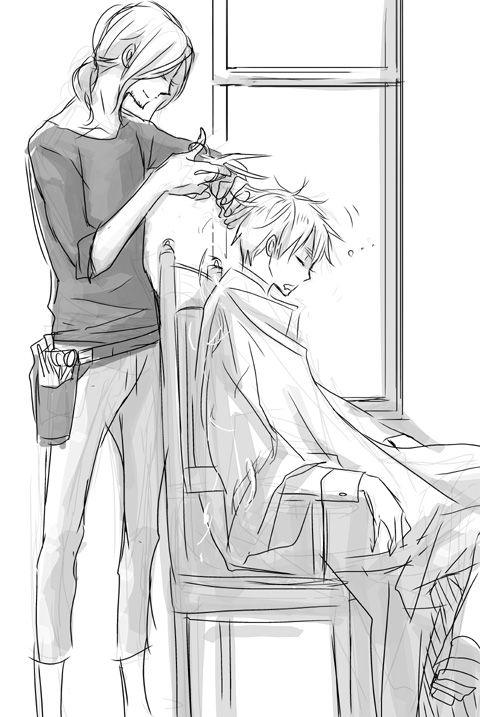France still does England's hair for him. I WANT FRANCIS TO DO MY HAIR!!!<---I DONT-DOITSU