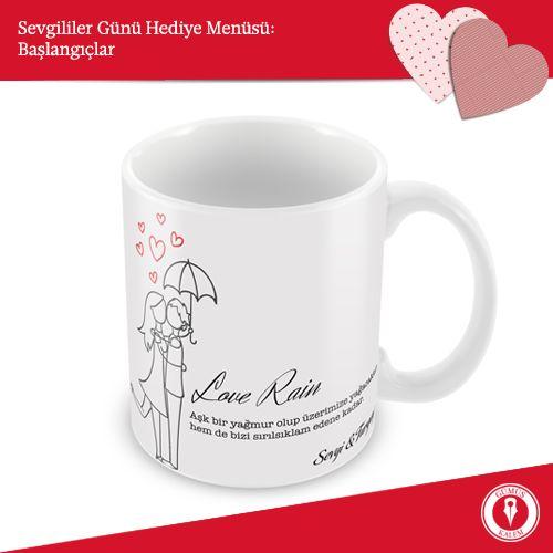 Sevgililer Günü Hediye Menüsü: Başlangıçlar - I Sevgililere özel bir kupa eğlenceli bir başlangıç olabilir. Daha sonra birlikte o kupalarla bir kahve içersiniz, bu sıcacık kahve sizi birbirinize daha çok bağlar… www.gumuskalem.com.tr