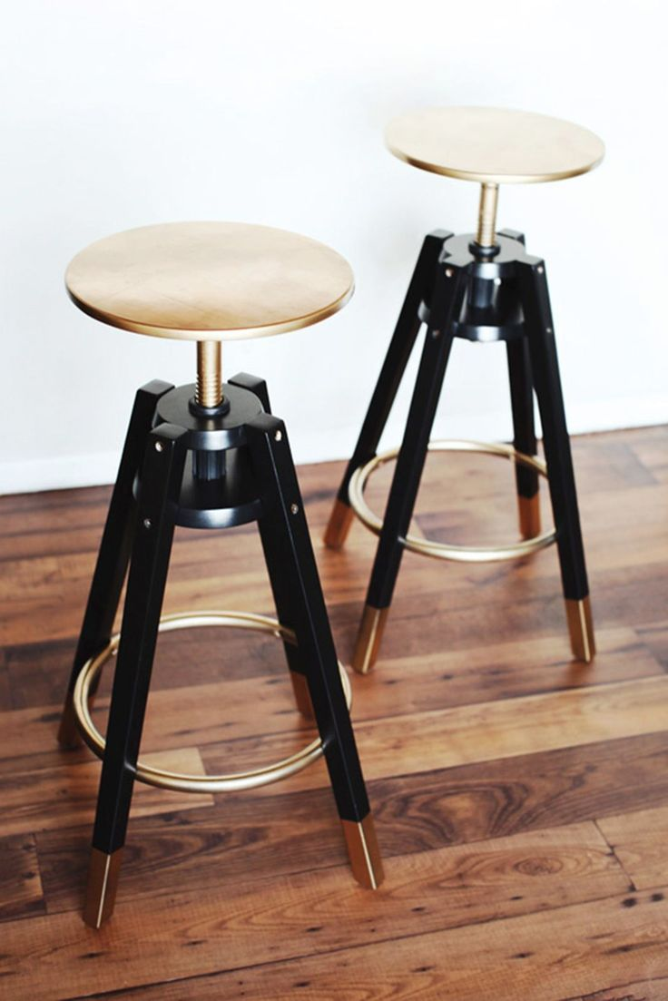 Golden touchA plain and somewhat clunky stool or chair can look a million dollars (well, not quite but you get the idea) with a spray can. The trick is not to spray the whole piece from top to bottom, but just paint a few details, such as the bottom of the legs, foot rails and seat like this Dalfred Ikea bar stool makeover by Melodrama. #refinery29 http://www.refinery29.uk/interiors-diy-decorating#slide-1
