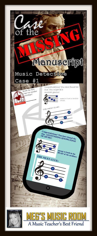 "Music Detective #1 ""Case of the Missing Manuscript"" Treble Clef - POWERPOINT #musicteacher #music #elementarymusic #teaching #musicteacher #classical #classicalmusic #musicgames #musicforkids #trebleclef #trebleclefnotes"