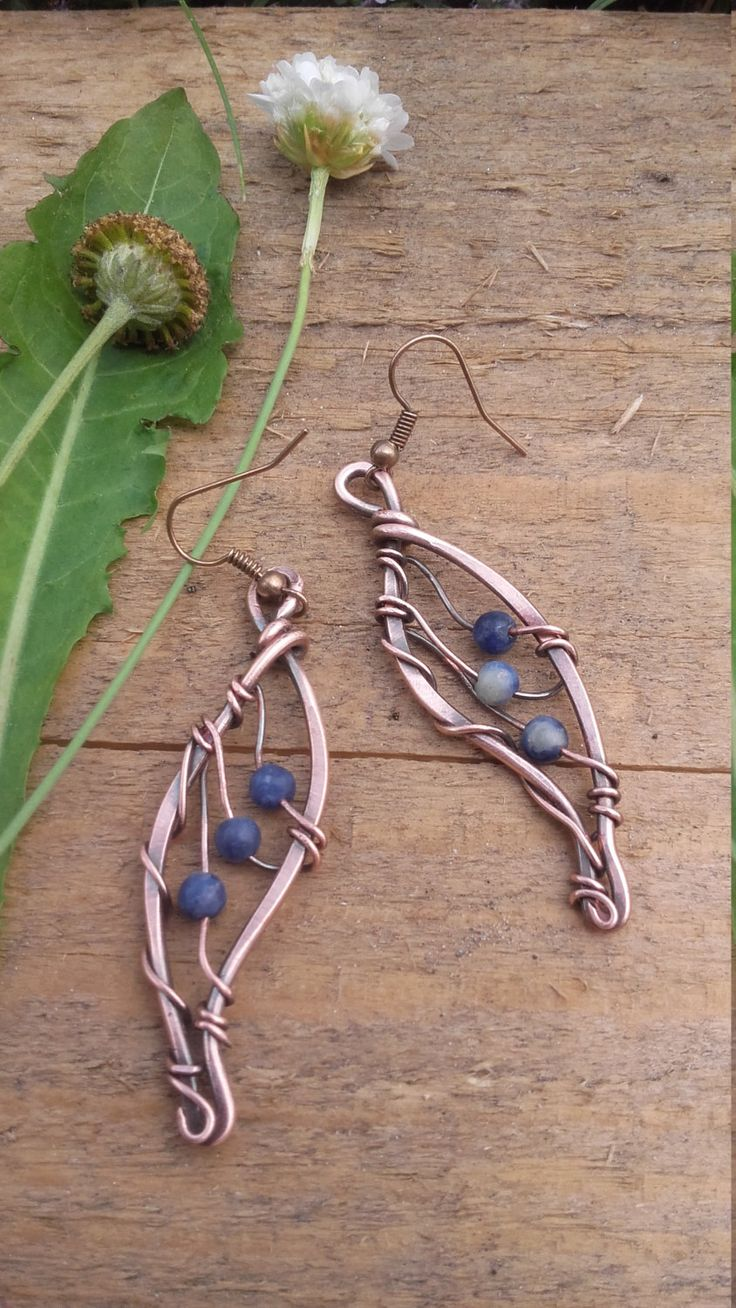 Fairy Copper Wire Earrings With Sodalite Beads,copper Earrings,fairy Copper Wire  Earrings,fairy Wings,wire Wrapped Earrings,wire Jewelry