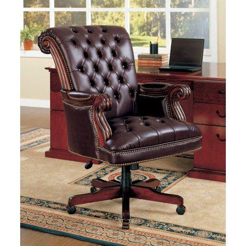 Coaster Traditional Executive Office Chair Nail Head Trim