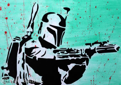mr babes boba fett original pop art painting star wars warhol banksy abstract ebay art. Black Bedroom Furniture Sets. Home Design Ideas