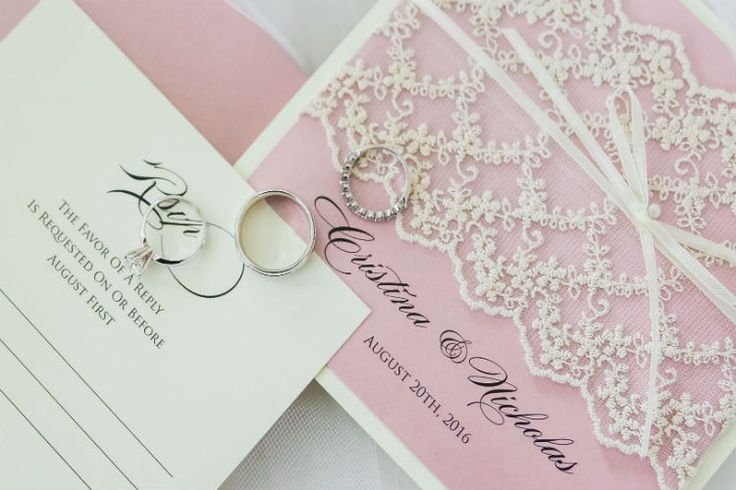 Pink lace wedding invitations (Scribbled Moments Photography, Inc.)