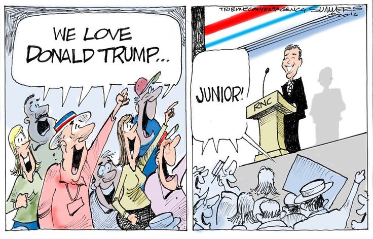 """Click on the pic to access this """"About Trump"""" Political Cartoon (Donald Trump, Jr.) -- and hundreds of others, too -- at my website: http://about-trump.weebly.com/#memes . I update the site regularly and am trying my best to keep it current. Please """"Follow"""" me here on Pinterest. Have a wonderful day. :)"""