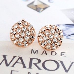Silver Austrian Crystal Round Clip Earring