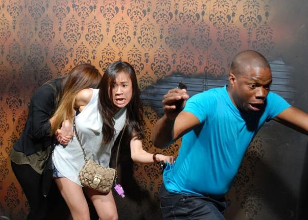 """The 44 Best Pictures Of Scared Bros At A Haunted House Of 2013.  Someone commented """"The most natural human reaction to fear is to immediately conga line away from danger.""""  Y'all...I'm crying so hard right now."""