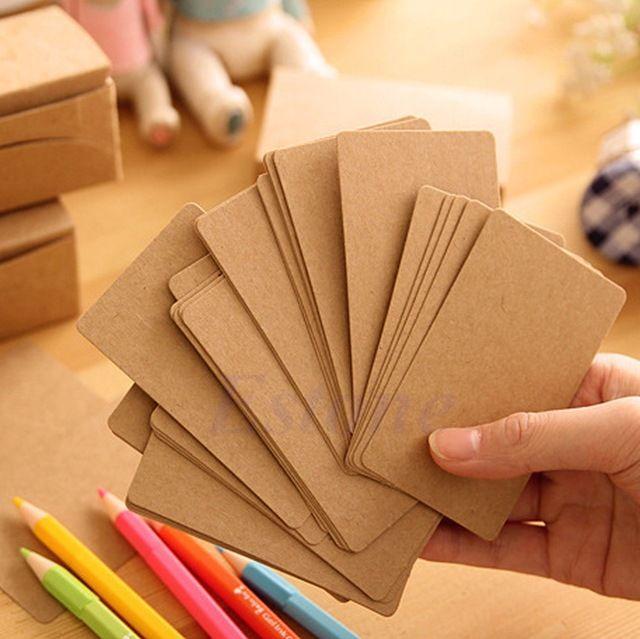 100 unids colgar etiquetas Etiqueta de Precio En Blanco de papel Kraft Tarjeta de Nota