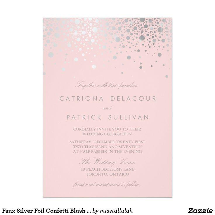 Faux Silver Foil Confetti Blush Pink Wedding