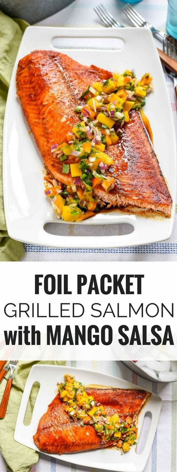 This Foil Packet Grilled Salmon with Mango Salsa is a super refreshing, light summer meal. Everyone will love the sweet and smoky flavor, and you'll love how easy it is to make!