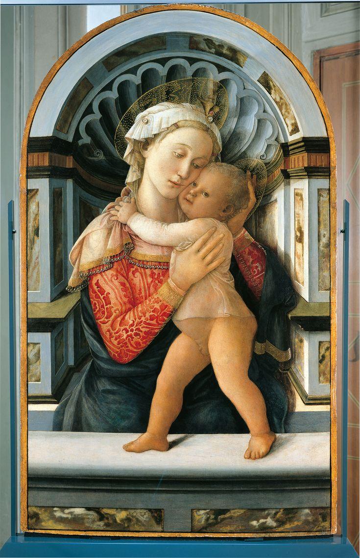 Filippo Lippi (Firenze 1406-Spoleto 1469),  Madonna col Bambino, 1460 circa,  tempera su tavola, cm 117 x 71.  Firenze, Palazzo Medici Riccardi.