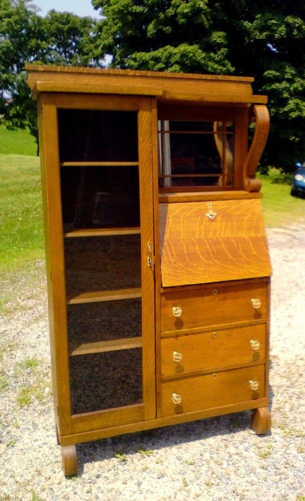 Antique Oak Side By Side Secretary Drop Front Desk And