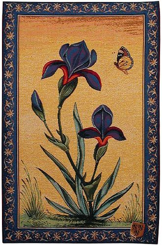 """Iris Flowers tapestry - a fine quality French tapestry wall-hanging. Admire the slightly iridescent blooms. 27""""x18"""" or 45""""x28""""."""