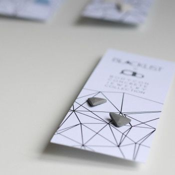 Concrete earrings grey pair small triangle