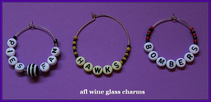 football team wine/bottle charms $2.00