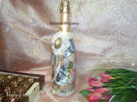 Декупаж - Винтажное шампанское на 8 марта