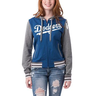 New Era Los Angeles Dodgers Women's Royal/Charcoal French Terry Contrast Sleeves Full-Zip Hoodie Jacket #dodgers #mlb #baseball
