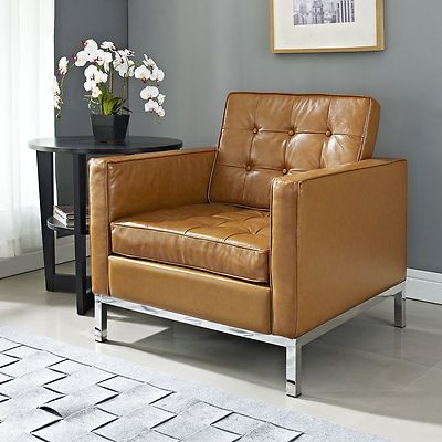 Florence Knoll Style Leather Arm Chair Tan Color Mid Century Modern on eBay!