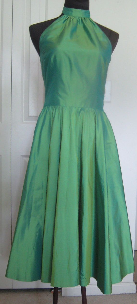 Marisa Baratelli Iridescent Thai Silk High Collar Halter Top Dress with Full Circle Skirt, Side Pockets & 2 Covered Buttons