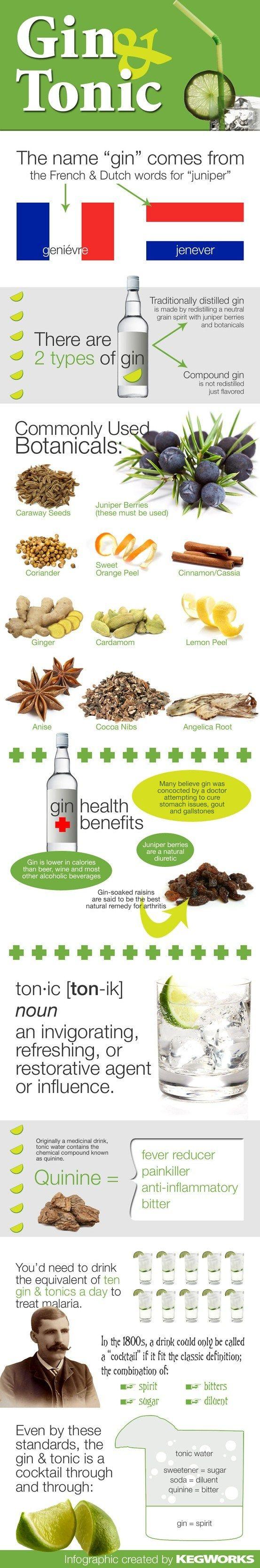 Infografía  sobre el gin-tónic. Tendrías que beberte el equivalente a 10 gin-tonics diarios para tratar la malaria con quinina.