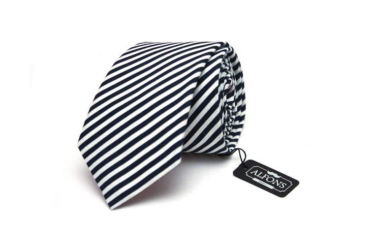 Modro bílá kravata s pruhy Alfons.cz