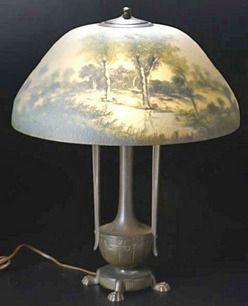 Table Lamp; Moe Bridges, Reverse Painted, Landscape, Urn Base, 23 inch.