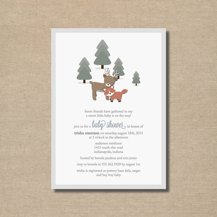 forest friends baby shower invitations printable