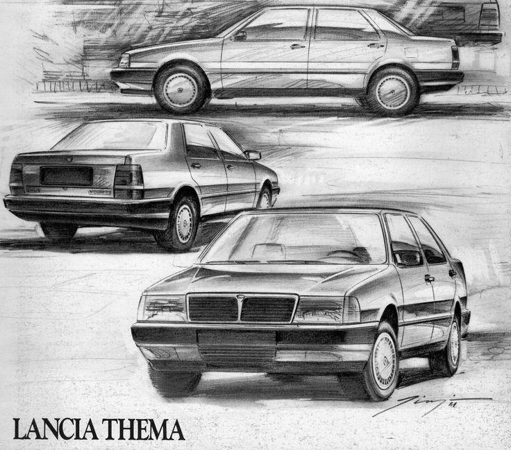 Lancia Thema Original Drawing