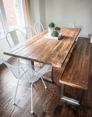 Reclaimed century barn board table with stainless steel base modern design