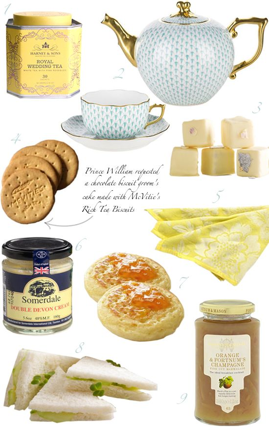 Tea With William and Kate: 1. Harney & Sons Royal Wedding Tea, 2. Herend Fish Scale Teapot , Cup and Saucer, 3. Pansy Petit Fours, 4. McVitie's Rich Tea Biscuits, 5. Smoke Dahlia Napkin, 6. Somerdale Double Devon Cream, 7. Crumpets (recipe), 8.Tea Sandwiches (recipes), 9. Fortnum & Mason Orange and Champagne Marmalade