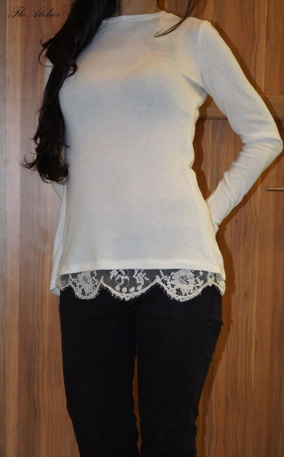 2a1994a47d7ba5 White Cotton Lace Women Blouse / Long Sleeve Lace Shirt,/Sexy Body Shirt/ Long  Sleeves Blouse/F1341