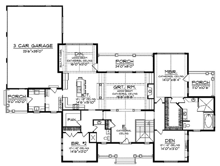 Ranch open floor plan floor plans pinterest house for Open floor plans with vaulted ceilings