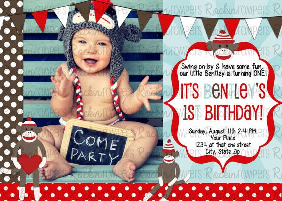 Picture idea Sock Monkey Birthday Invitation 4X6 by RockinRompers on Etsy, $10.00