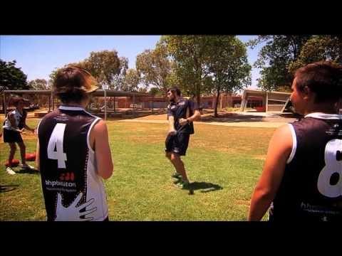 West Coast forward Josh Kennedy heads up to Port Hedland as part of BHP Billiton's Kicking Goals program, that teaches football skills to remote communities in Western Australia.