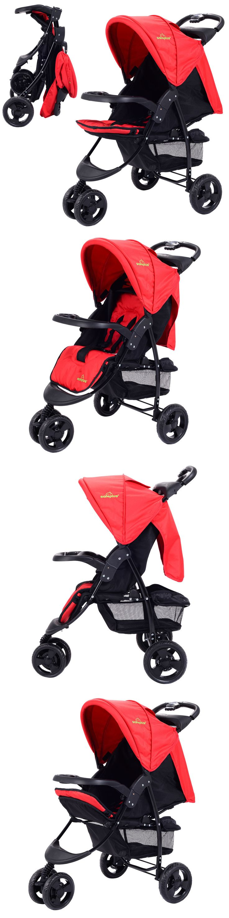 Baby: 3 Wheel Foldable Baby Kids Travel Stroller Pushchair Buggy Newborn Infant Red -> BUY IT NOW ONLY: $55.95 on eBay!