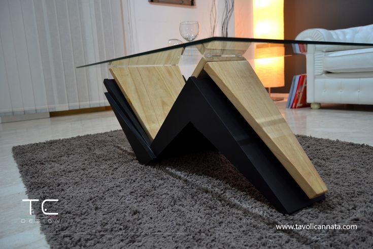 Tisch basse Bois, Couchtisch aus Glas