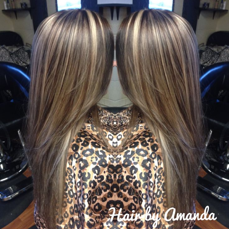 Chinky highlight with dark brown base. Dark brown hair. Blonde hair. Long hair.