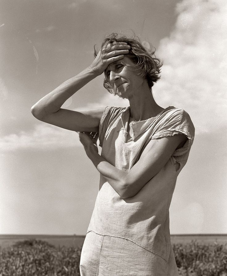 """""""Nettie Featherston, wife of a migratory laborer with three children. Near Childress, Texas. """"If you die, you're dead – that's all."""" By Dorothea Lange."""