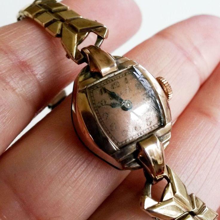 Vtg Bulova 17J 14K RGP Swiss Copper Dial Ladies Windup Wrist Watch -Not Runs TLC #Bulova