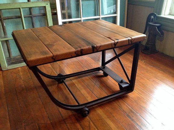 Reclaimed Wood Industrial Coffee Table Metal Casters Barn Wood Industrial Furniture