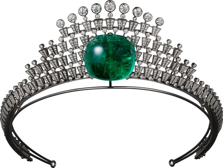 CARTIER. Tiara - white gold, one 140.21-carat cushion-shaped cabochon-cut emerald from Colombia, seven E/F IF/VVS1/VVS2 brilliant-cut diamonds totalling 4.58 carats, brilliant-cut diamonds. The creation can be worn as a tiara or a necklace. #Cartier #RésonancesDeCartier #HighJewellery #HauteJoaillerie #FineJewelry #Tiara #Emerald #Diamond