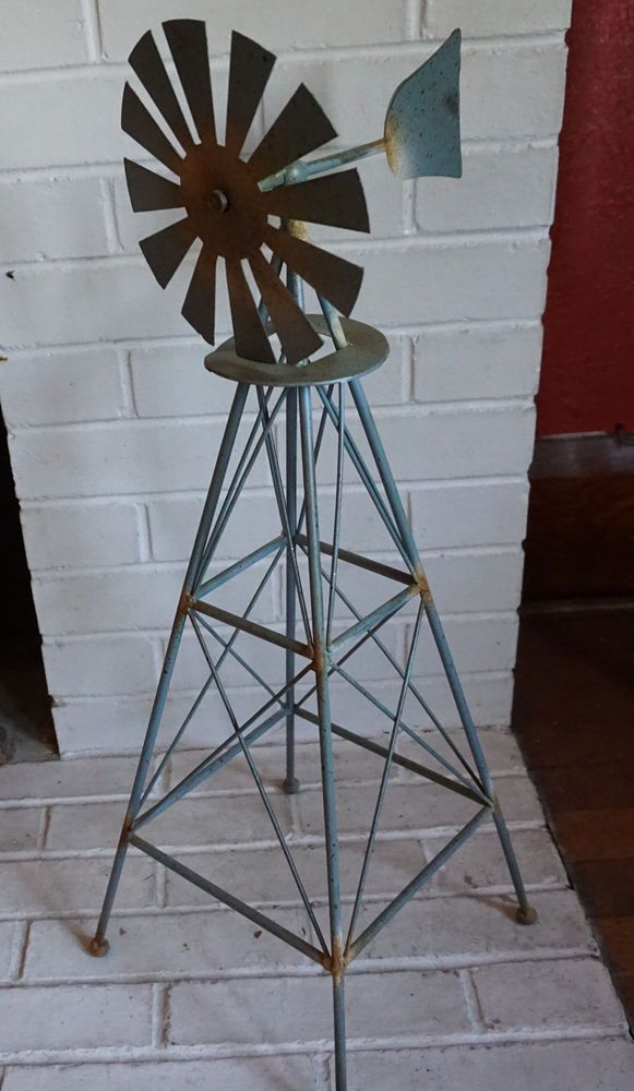 Rustic Country Primitive Amish Style Windmill Metal Garden Home Decor Statue NEW #Unbranded