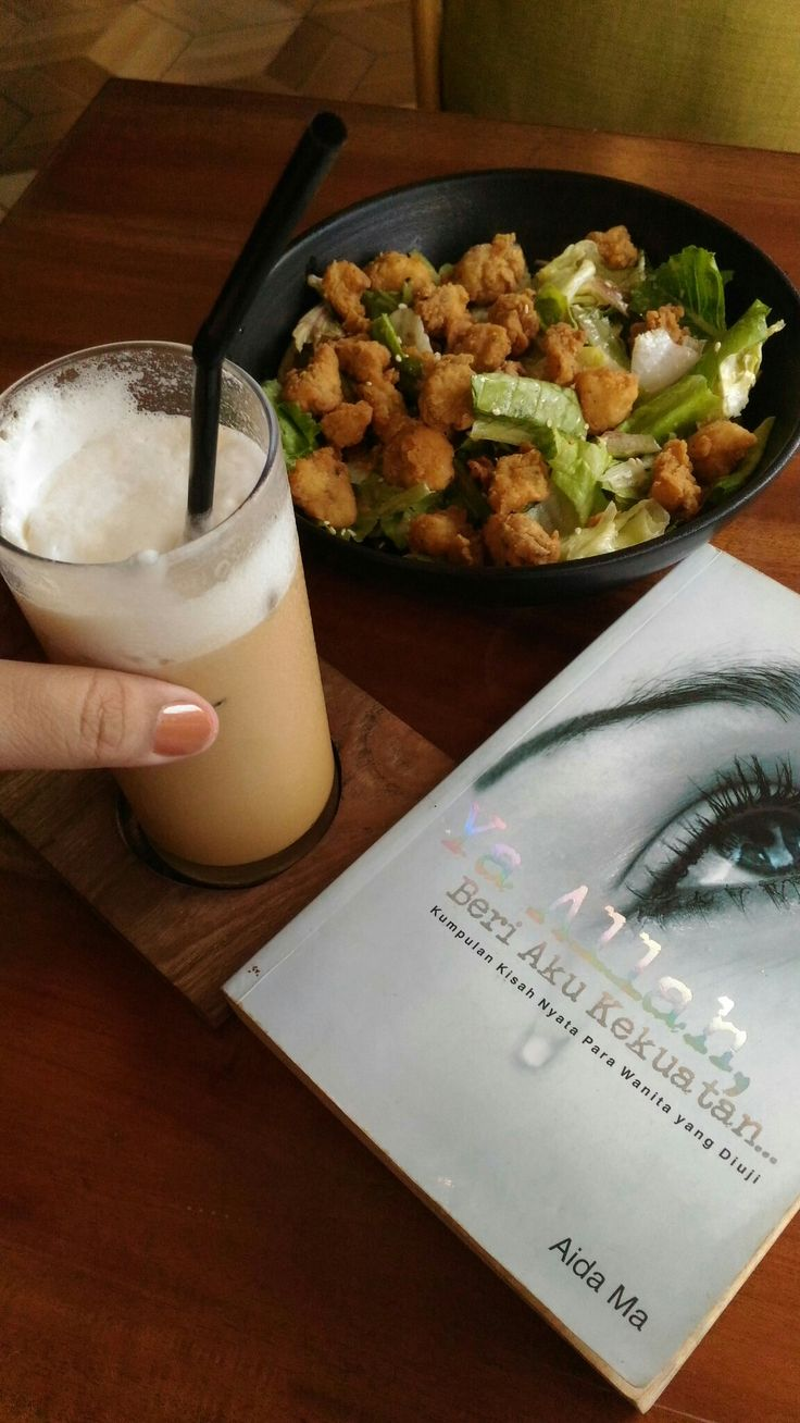 Coffee, book and salad ready for weekend
